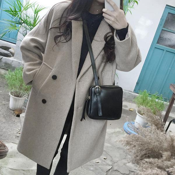 韓妞純色毛呢長版外套
