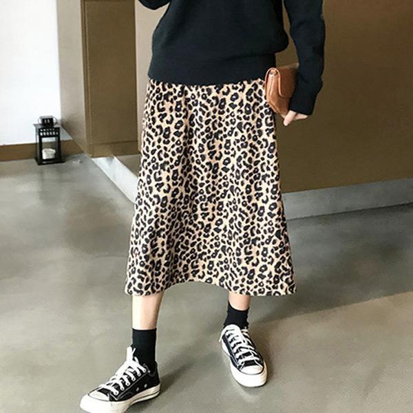 韓風開衩豹紋長裙