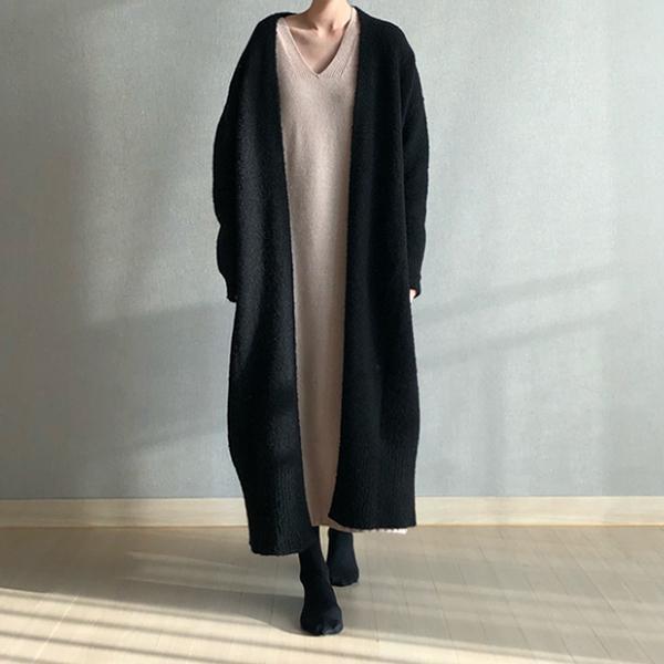 休閒慵懶針織長版外套