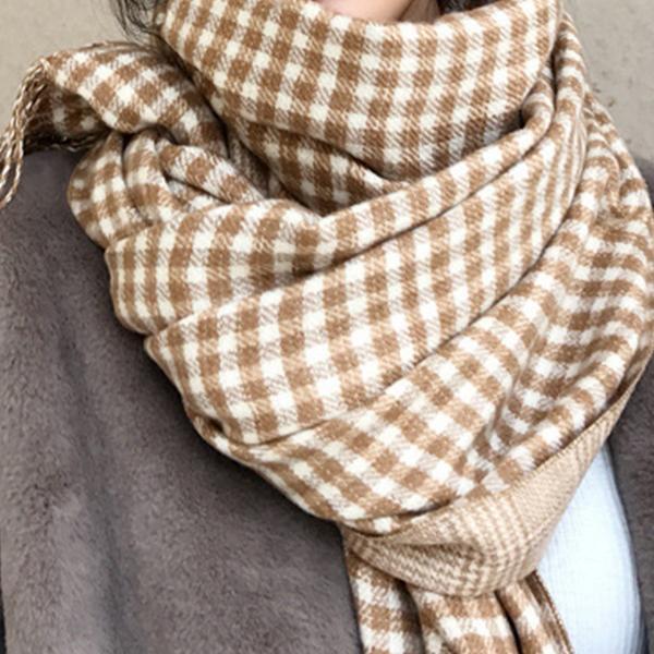 韓流百搭格紋圍巾