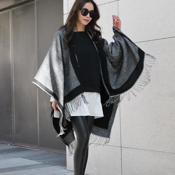 時尚雙面保暖披巾