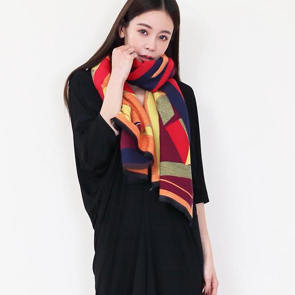 優雅幾何雙面圍巾