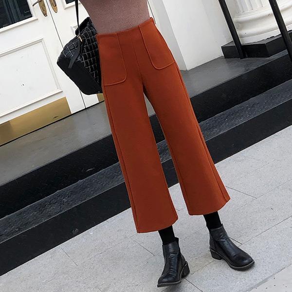 簡約口袋九分寬褲,JEANSWE,百搭,修身,寬鬆,顯瘦