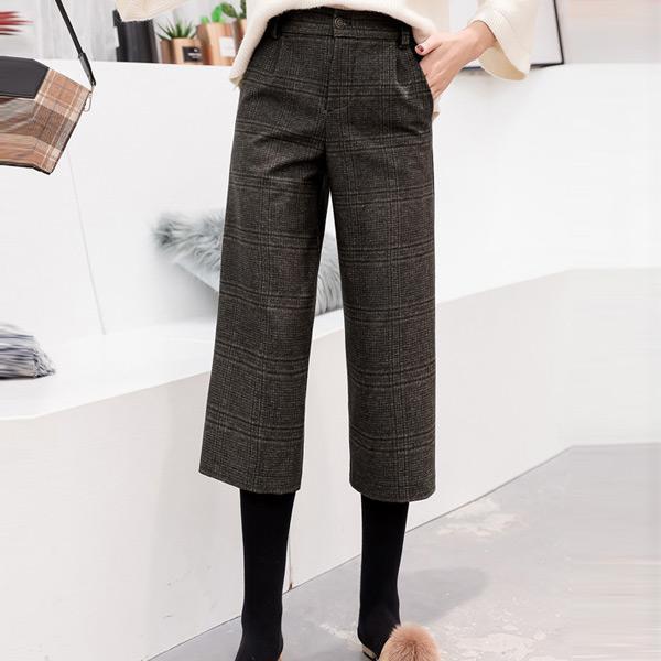 經典格紋打摺七分寬褲