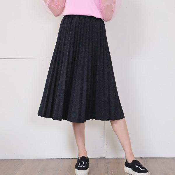 韓版百褶毛呢鬆緊長裙