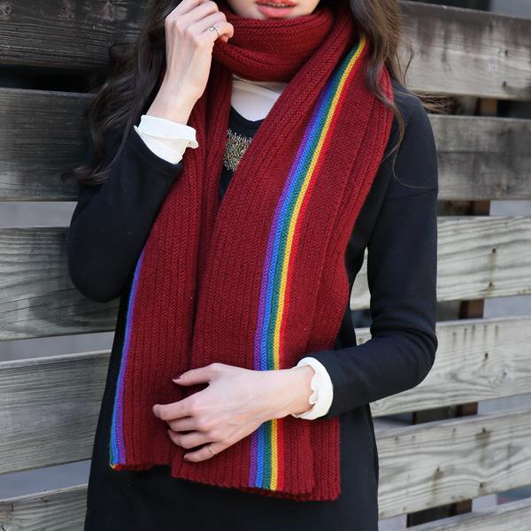 粉漾彩虹保暖圍巾