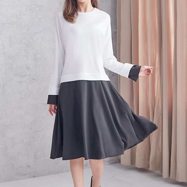 清新純色拼接洋裝,JEANSWE,百搭,修身,寬鬆,顯瘦