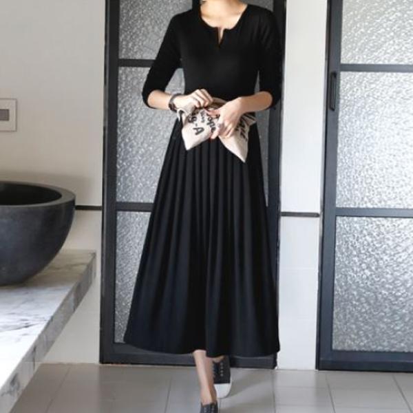 【何妤玟著用款】低調純色修身飄逸洋裝,JEANSWE,百搭,修身,顯瘦,時尚