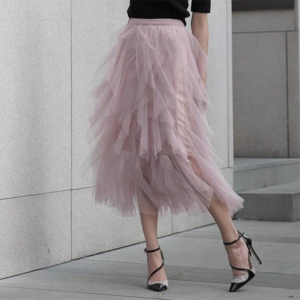 百摺蛋糕長紗裙,JEANSWE,百搭,修身,寬鬆,顯瘦