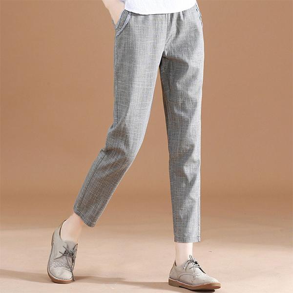 棉麻百搭格紋九分褲,JEANSWE,百搭,修身,顯瘦,時尚