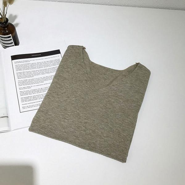 V領五分袖寬鬆針織上衣,JEANSWE,春夏,V領,寬鬆,休閒