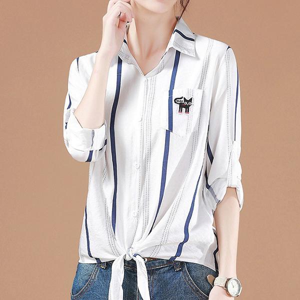 七分袖條紋綁帶襯衫