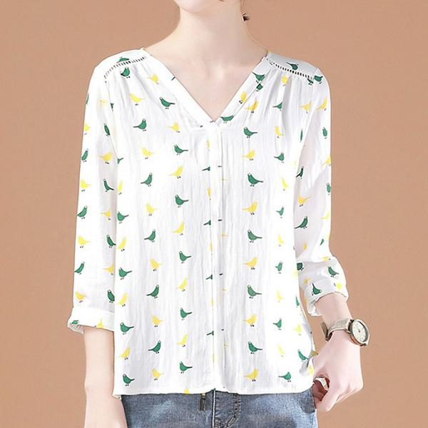 青鳥物語V領襯衫,JEANSWE,春夏,動物,翻領,口袋