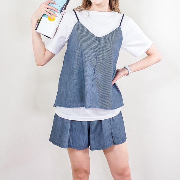 吊帶清爽短裙套裝