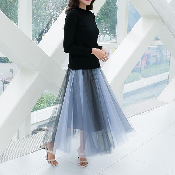 雙色拼接質感紗裙