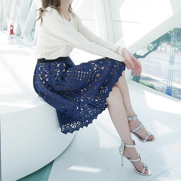 【藝人/網紅著用款】蕾絲簍空美學長裙