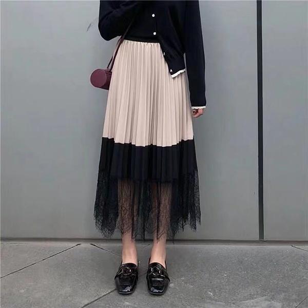 拼接蕾絲時尚長裙