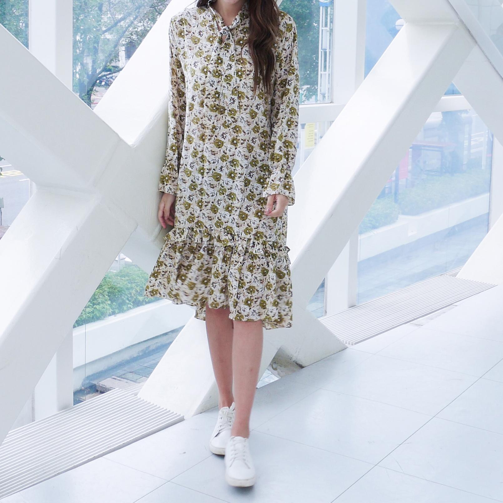 花漾女孩氣質洋裝,JEANSWE,秋冬,顯瘦,時尚,優雅