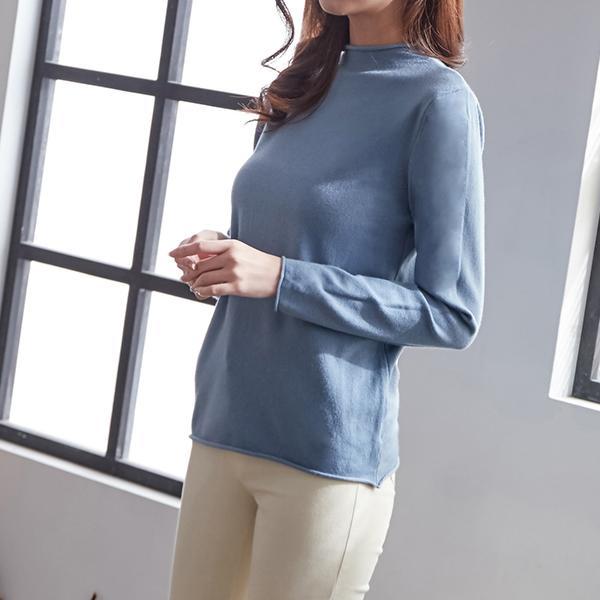 捲邊修身長袖上衣,JEANSWE,秋冬,顯瘦,純色,舒適