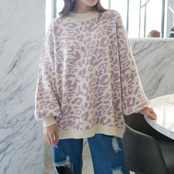 豹紋迷幻針織衫