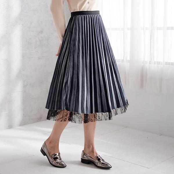 蕾絲兩穿百褶裙
