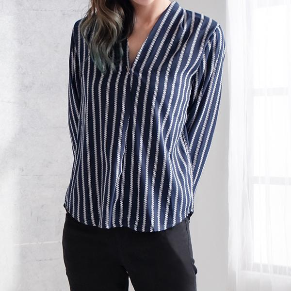 V領條紋襯衫