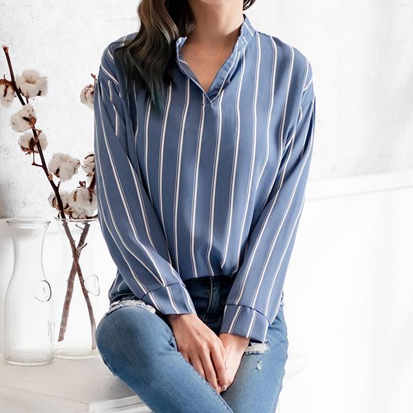 條紋氣質OL襯衫