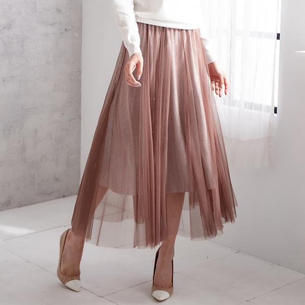 亮蔥網紗長裙
