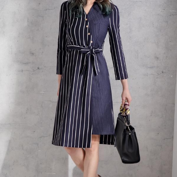 條紋拼接綁帶洋裝,JEANSWE,秋冬,時尚,百搭,氣質