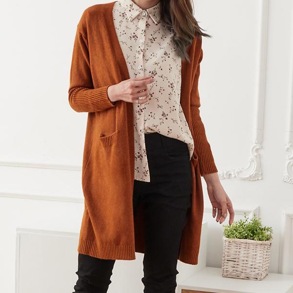 針織毛衣長版外套