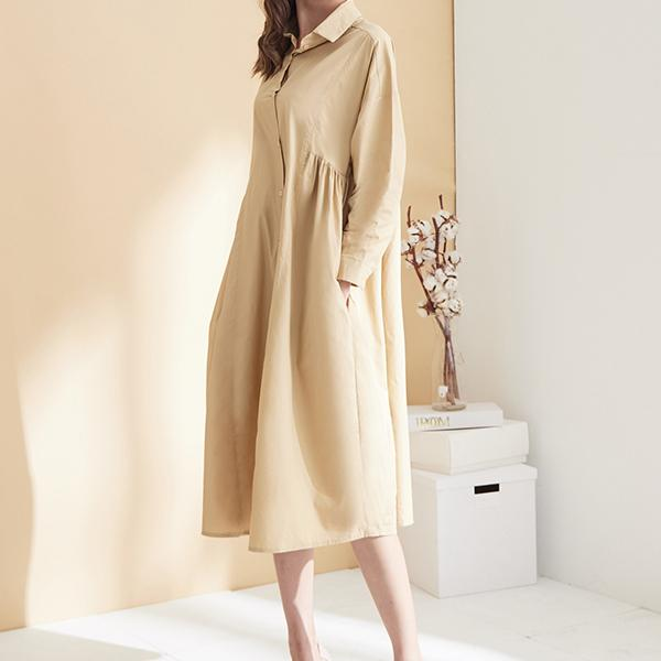 純色襯衫洋裝