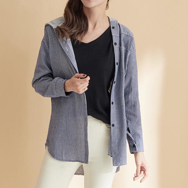 清新條紋連帽外套,JEANSWE,秋冬,時尚,氣質,優雅