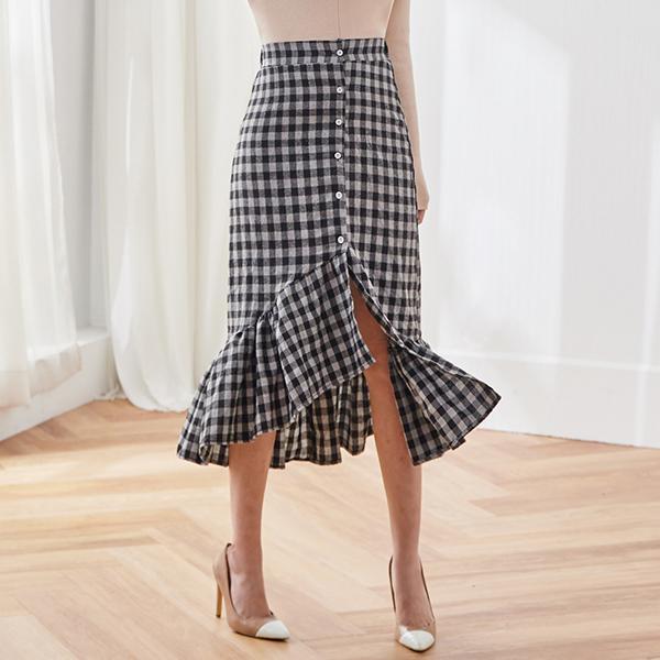 不規則格紋長裙