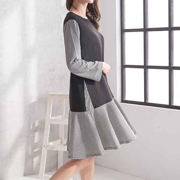 俏麗格紋時尚發熱洋裝,JEANSWE,秋冬,時尚,百搭,氣質