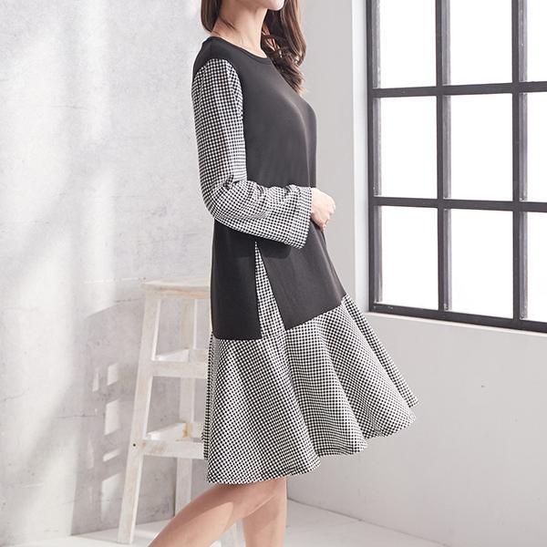 俏麗格紋時尚發熱洋裝