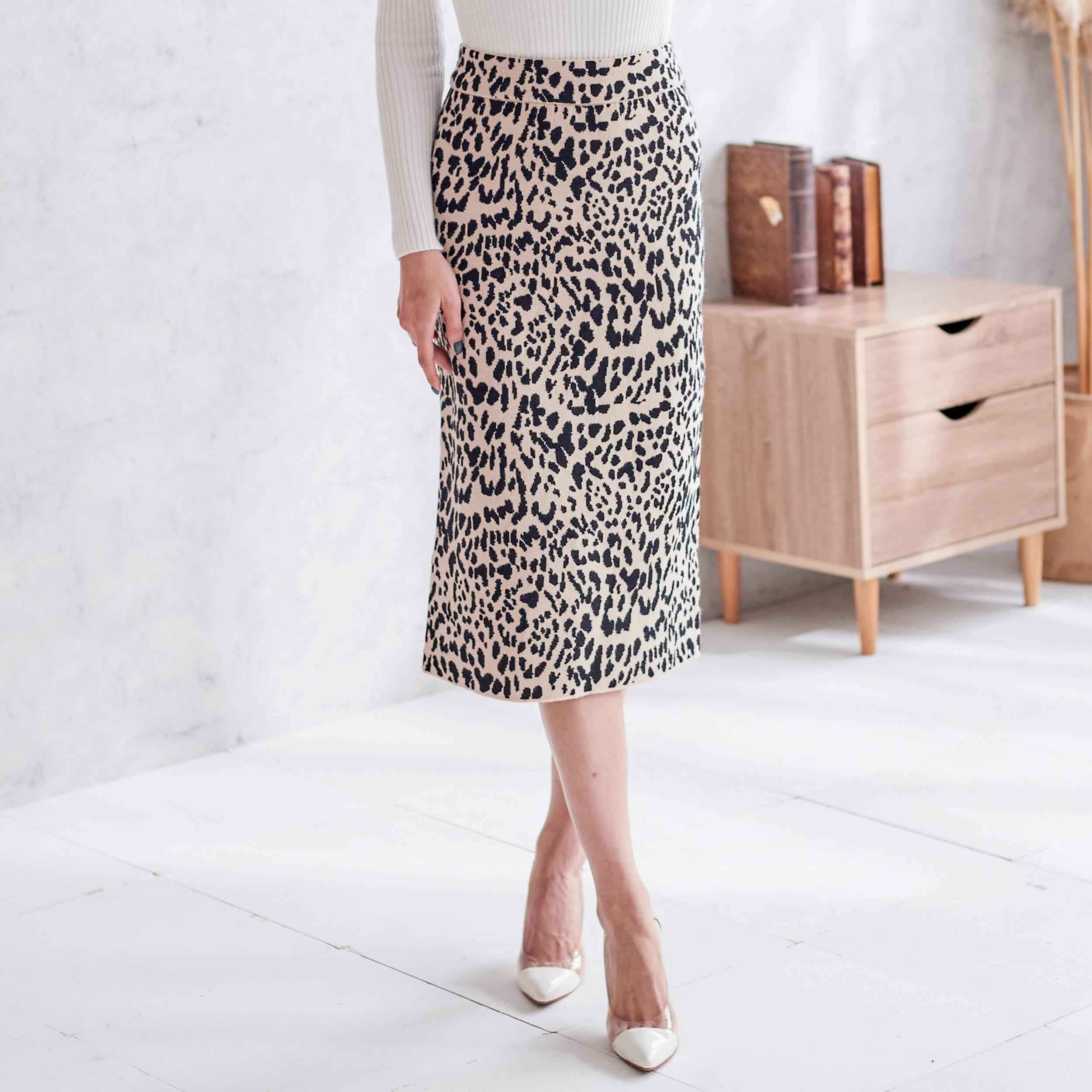 修身豹紋針織裙