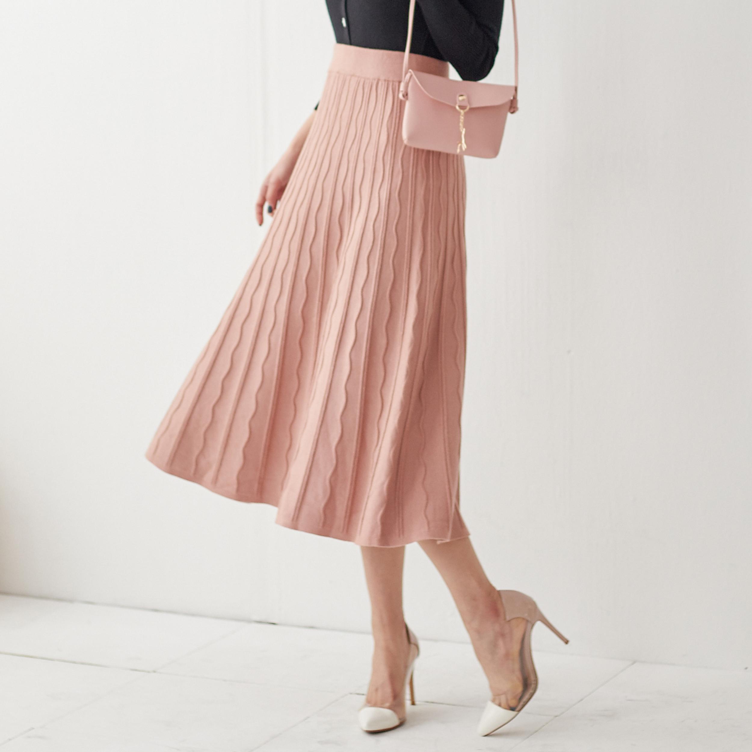 浪漫波浪針織長裙