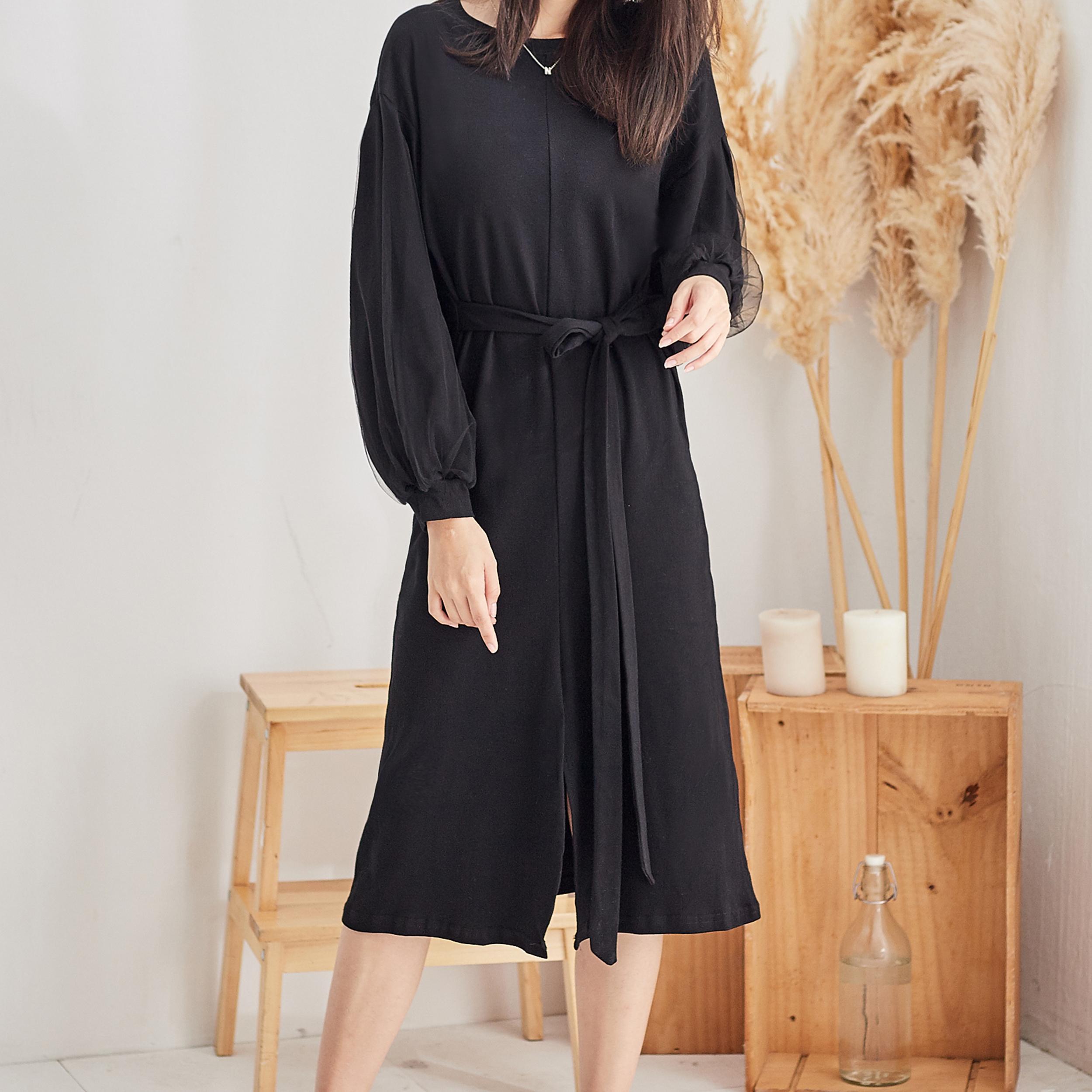 素雅圓領洋裝,JEANSWE,春夏,時尚,百搭,氣質