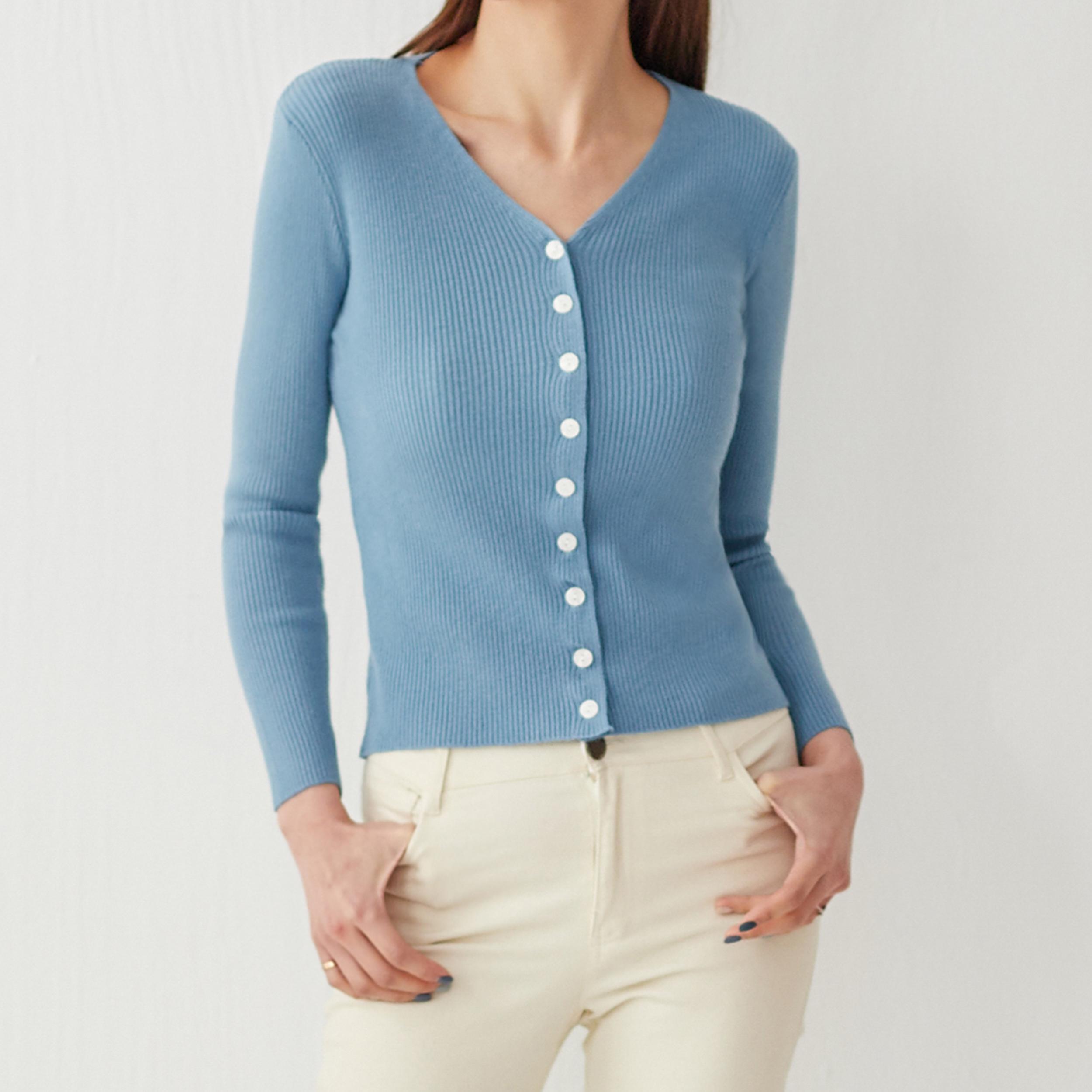 純色白扣休閒針織外套,JEANSWE,秋冬,時尚,百搭,氣質