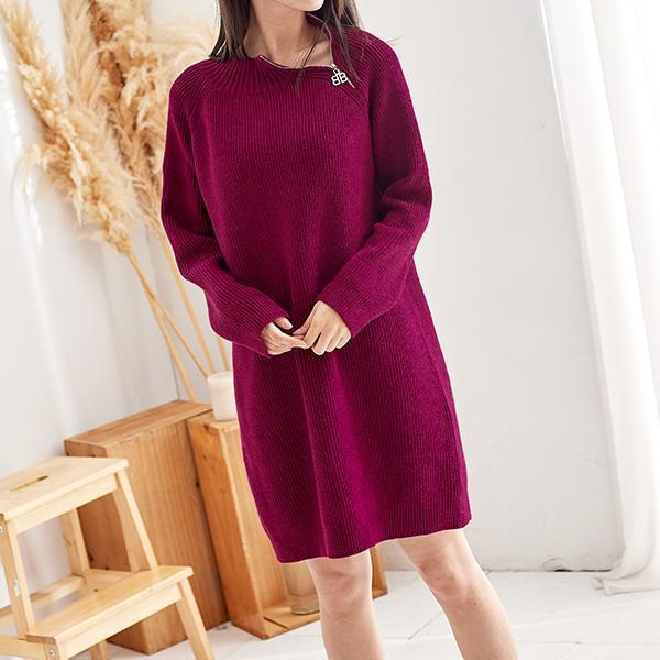 拉鍊造型針織洋裝,JEANSWE,秋冬,時尚,百搭,氣質