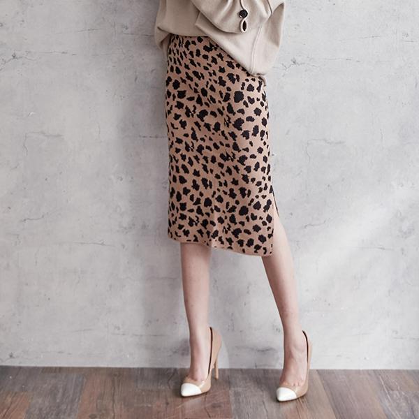 狂野豹紋針織裙