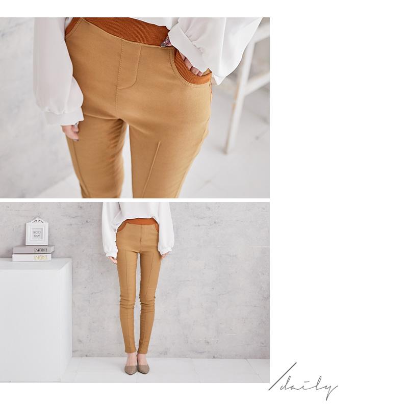 純色貼身鬆緊長褲