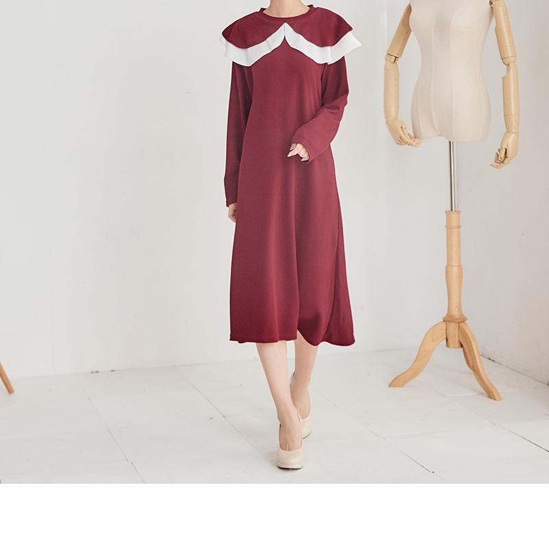 荷葉邊領口氣質洋裝