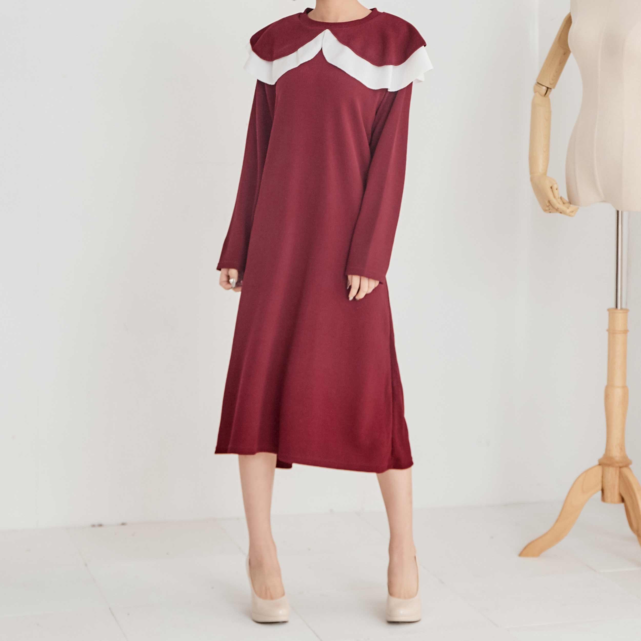 荷葉邊領口氣質洋裝,正韓,正韓商品,春夏,優雅,百搭