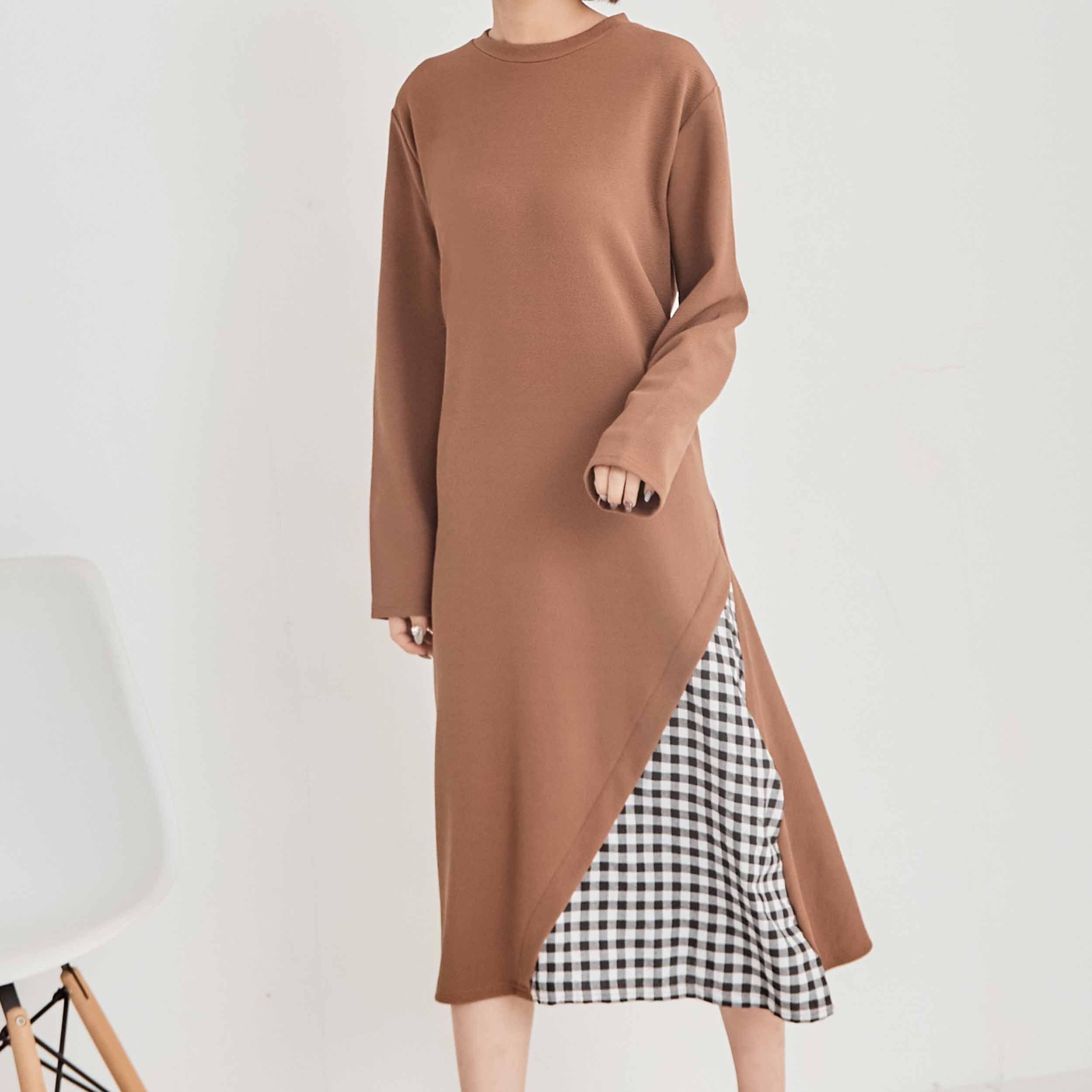 格紋拼接造型洋裝