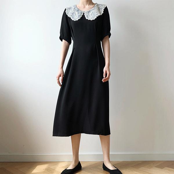 氣質拼接蕾絲領洋裝