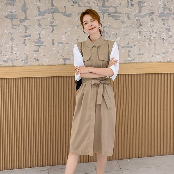 樸實拼接綁帶洋裝,MISS ROSSY,百搭,休閒,中大尺碼,MISS ROSSY