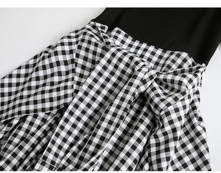 假兩件縮腰格紋洋裝