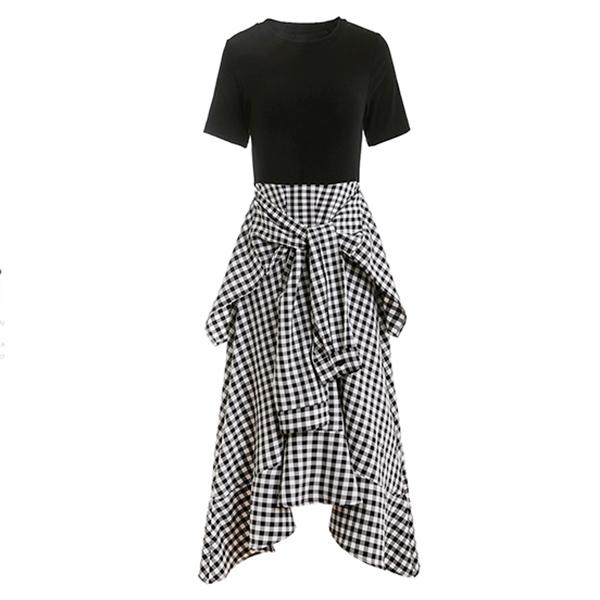 假兩件縮腰格紋洋裝,MISS ROSSY,百搭,時尚,氣質,MISS ROSSY