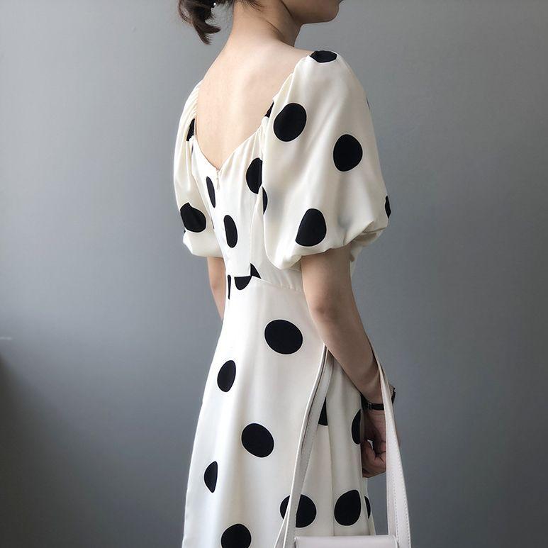 時尚點點方領洋裝,JEANSWE,百搭,,JEANSWE,2O-TD04188